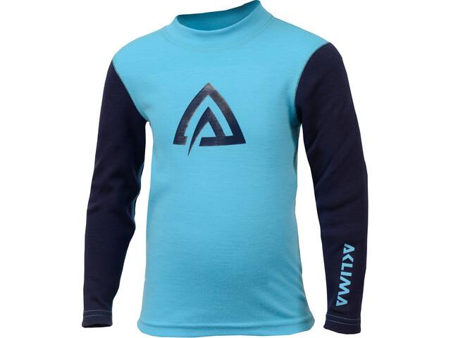 Aclima WarmWool Crew Neck Shirt Juniors River Blue/Peacoat